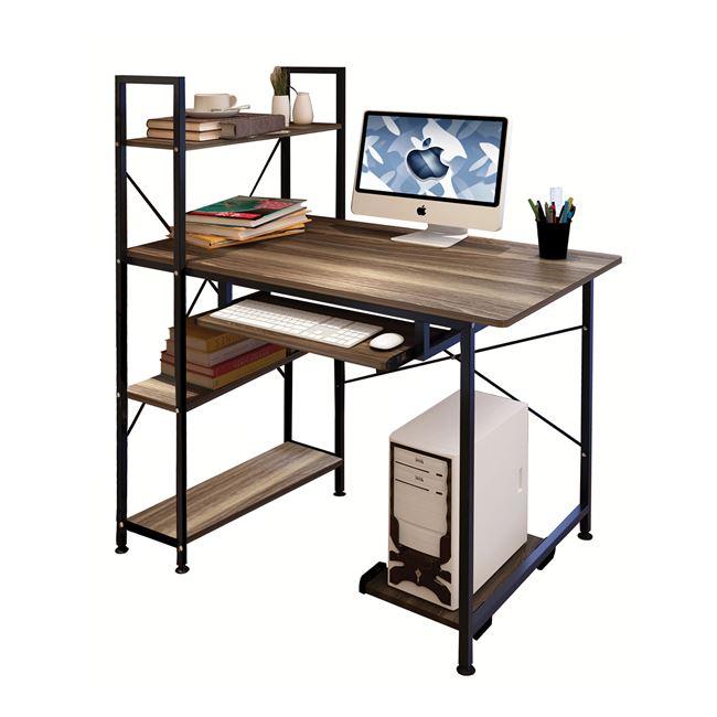 Γραφείο εργασίας από μέταλλο/mdf σε χρώμα φυσικό/μαύρο 100x48x70/118