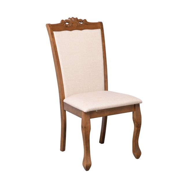 """Καρέκλα τραπεζαρίας """"DELINE"""" από ύφασμα/ξύλο σε χρώμα μπεζ/καρυδί 49x58x104"""