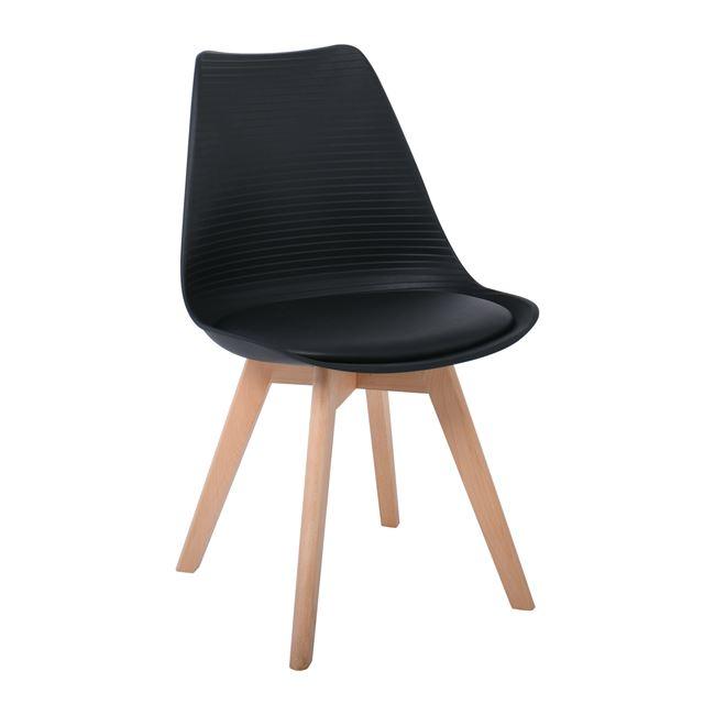 """Καρέκλα """"MARTIN STRIPE"""" από PP/ξύλο σε χρώμα μαύρο/φυσικό 49x56x82"""