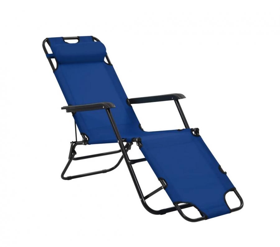 Ξαπλώστρα-καρέκλα μεταλλική σε μπλε χρώμα 163x60x80