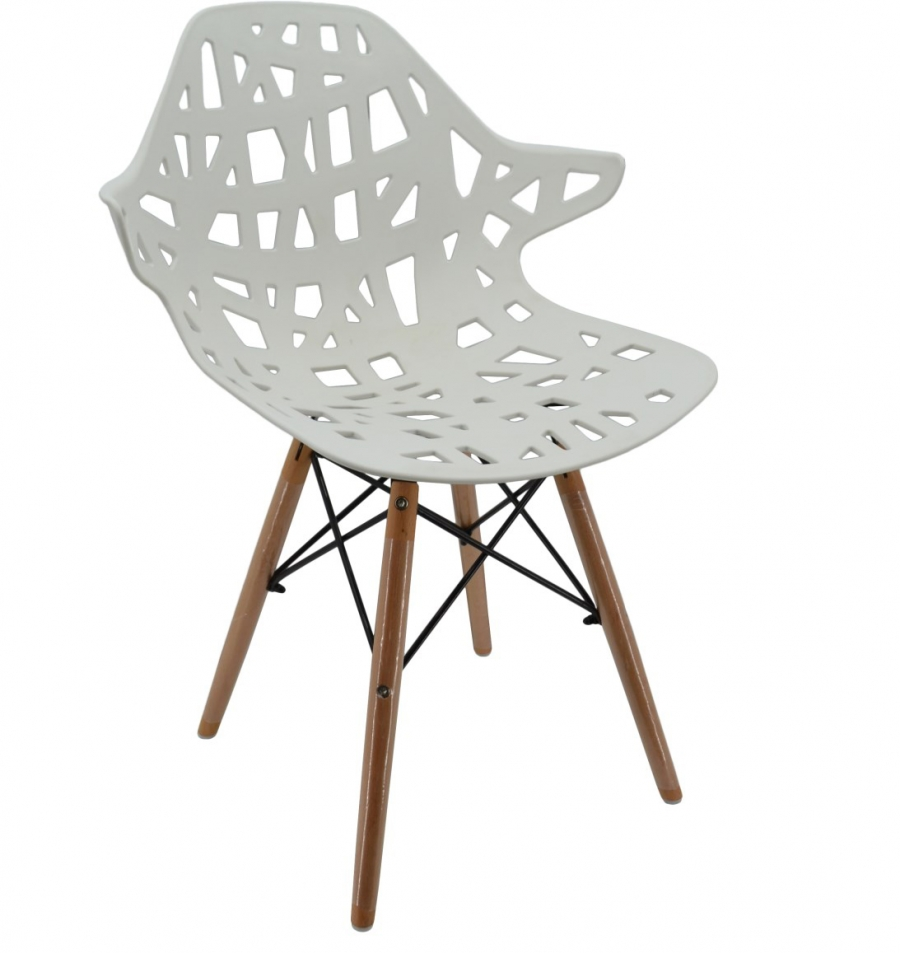 Καρέκλα πολυπροπυλενίου-ξύλινη σε λευκό-φυσικό χρώμα 52x59x80