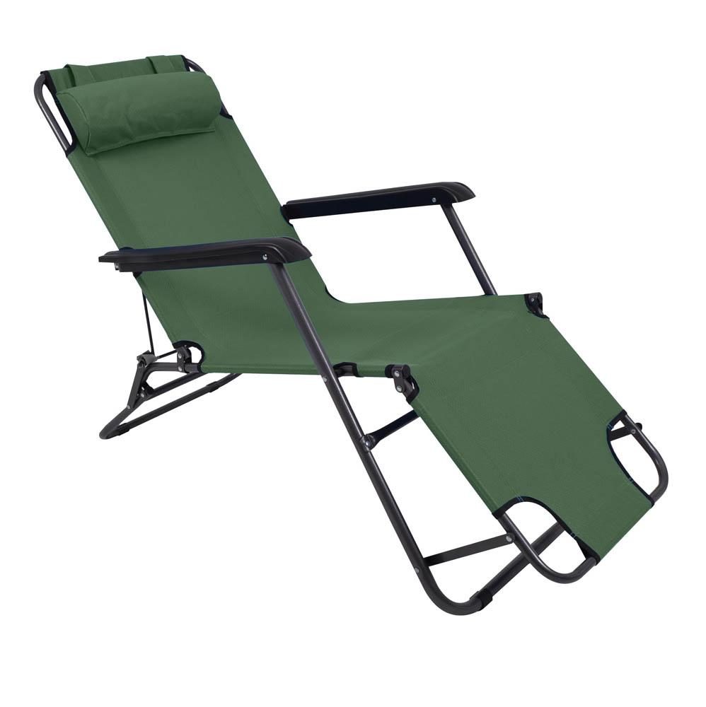 Ξαπλώστρα-καρέκλα μεταλλική σε πράσινο χρώμα 163x60x80