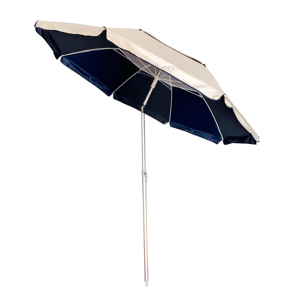 Ομπρέλα θαλάσσης από αλουμίνιο/ύφασμα σε χρώμα μπλε/μπεζ Φ2