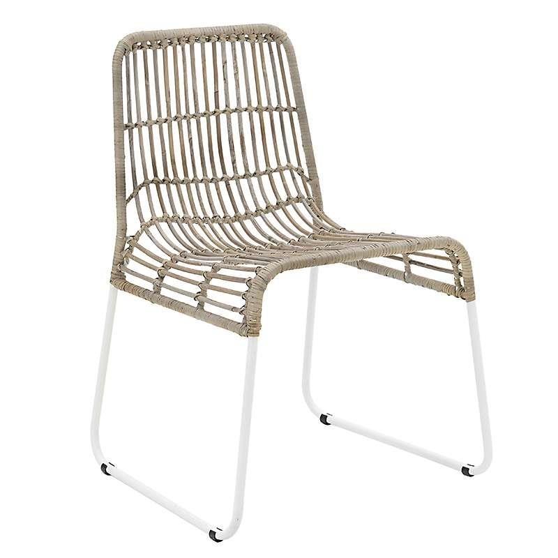 Καρέκλα εξωτερικού χώρου από πλέξη wicker σε καφέ-γκρι χρώμα 44x45x75