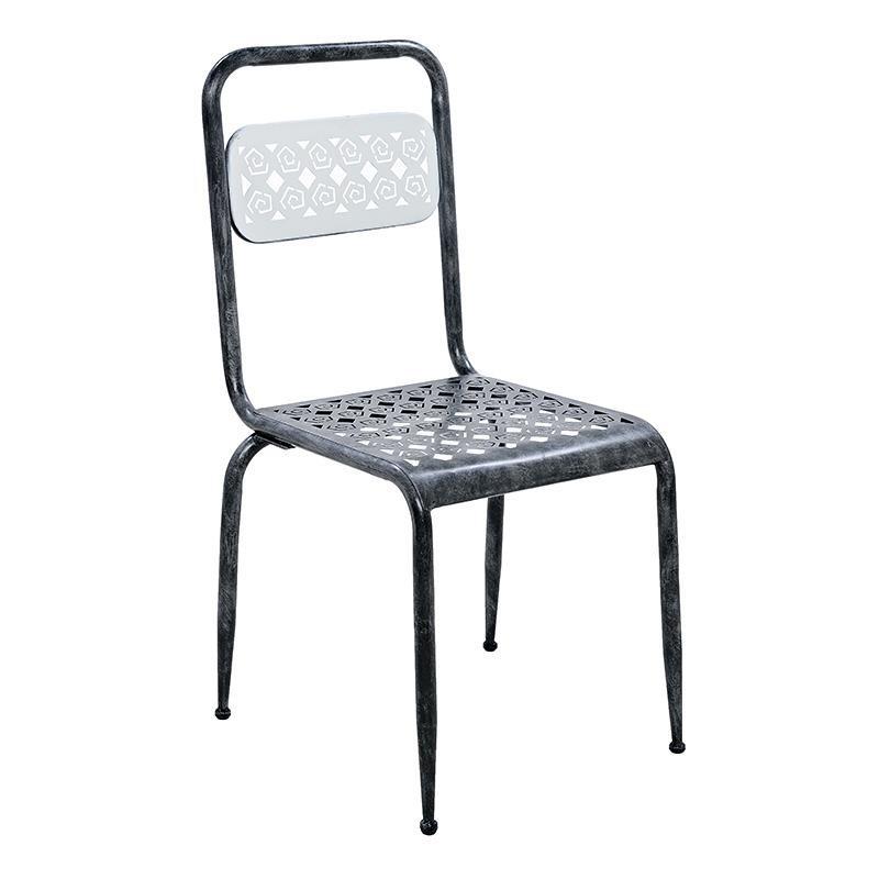 Καρέκλα μεταλλική σε αντικέ γκρι χρώμα 40x42x87