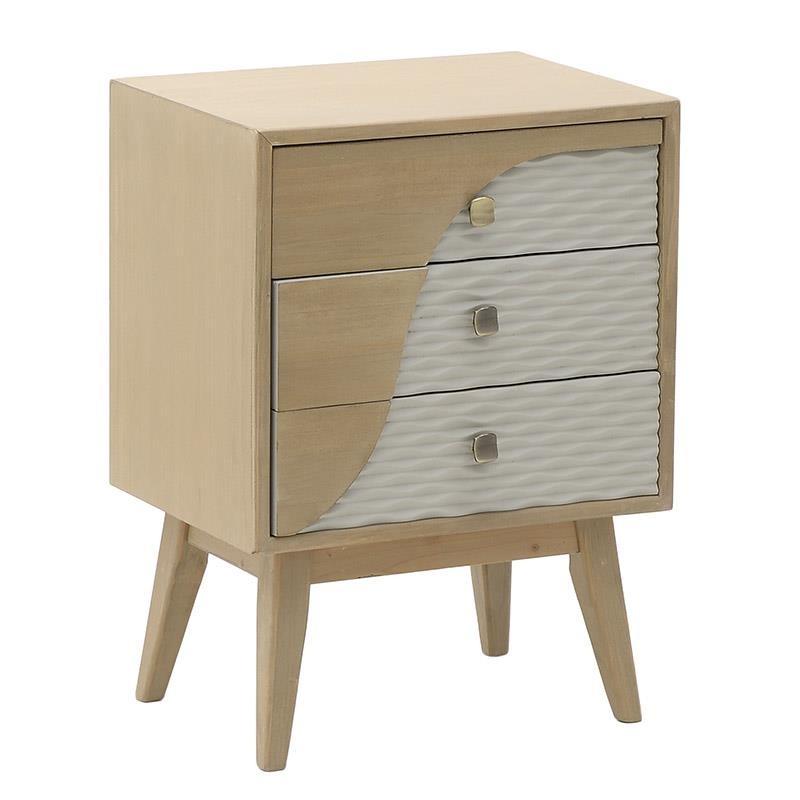 """Κομοδίνο """"INART"""" ξύλινο σε χρώμα μπεζ-λευκό 48x35x67"""