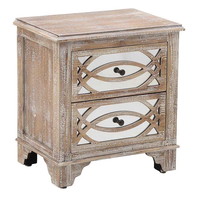 """Κομοδίνο """"INART"""" ξύλινη σε χρώμα φυσικό-μπεζ 54x39x59"""