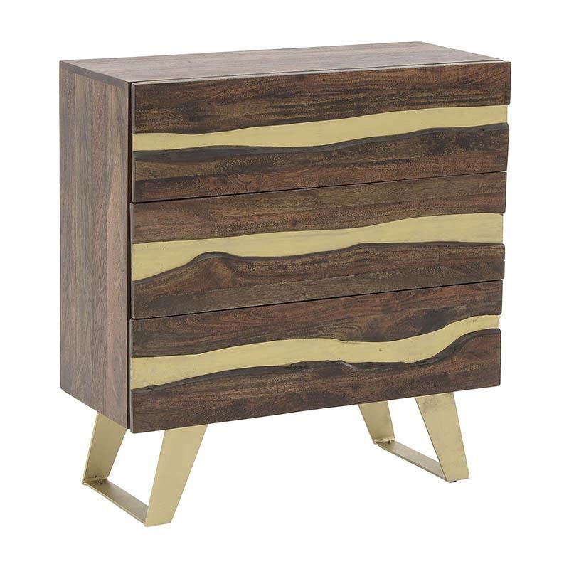 """Συρταριέρα """"INART"""" ξύλινη σε χρώμα καφέ-χρυσό 80×30.5×85"""