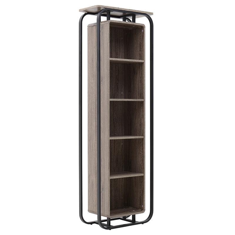 """Βιβλιοθήκη """"INART"""" από μέταλλο/ξύλο σε χρώμα σταχτί-δρυς 59x29x180"""