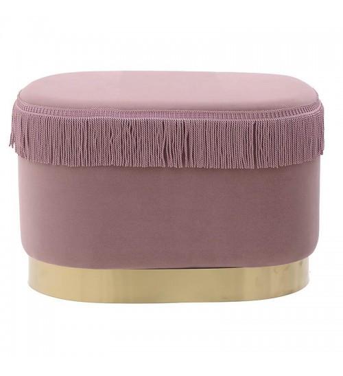 """Βελούδινο ταμπουρέ """"INART"""" ροζ με χρυσή λεπτομέρεια στο πόδι 56x37x36"""
