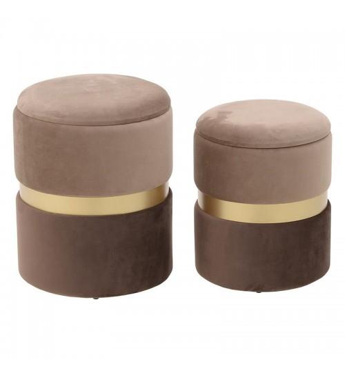"""Βελούδινο σκαμπώ σετ των 2 """"INART"""" σε χρώμα μπέζ-καφέ 35,5×35.5×45"""