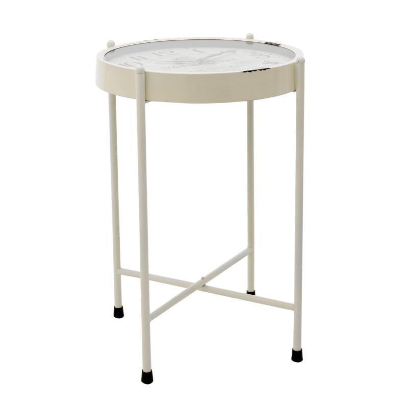 Τραπέζι ρολόι μεταλλικό σε λευκό χρώμα 52x52x72,5