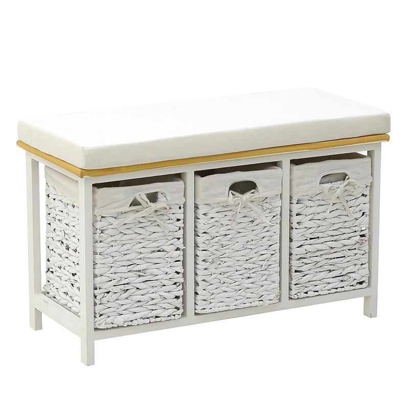 """Ντουλάπι σκαμπό """"INART"""" από ξύλο σε χρώμα λευκό/μπεζ 73x32x45"""
