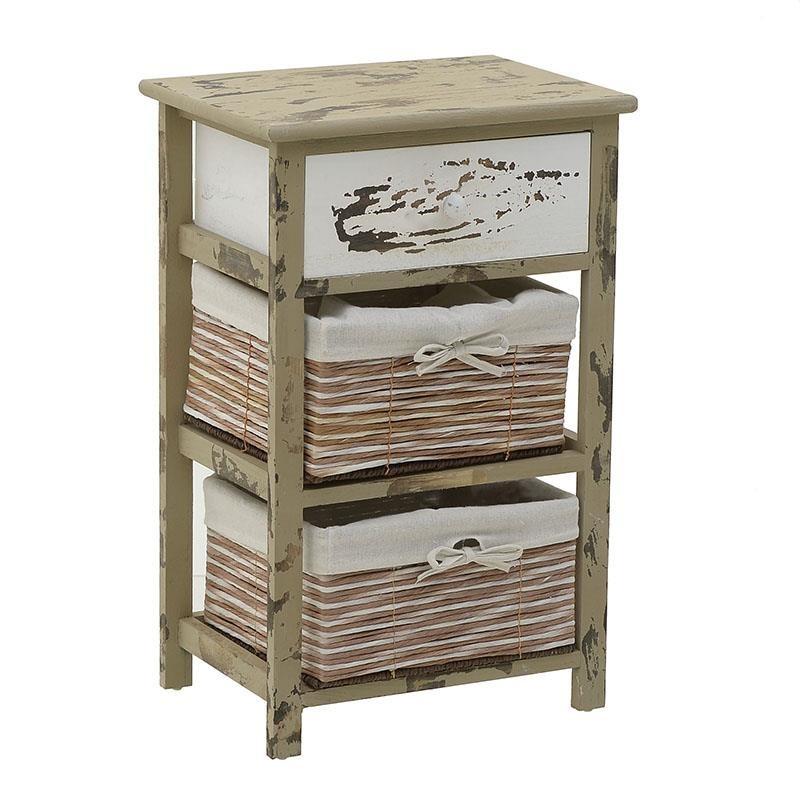 """Συρταριέρα """"INART"""" από ξύλο σε χρώμα λευκό/καφέ 40x29x62"""