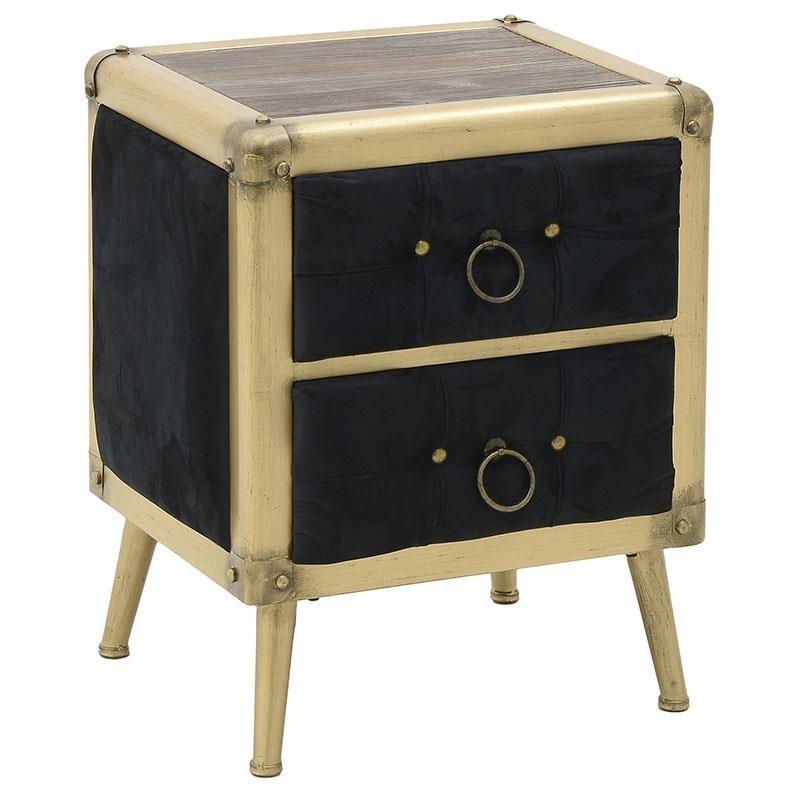 """Κομοδίνο """"INART"""" από μέταλλο σε χρώμα χρυσό/μαύρο 53x44x65"""