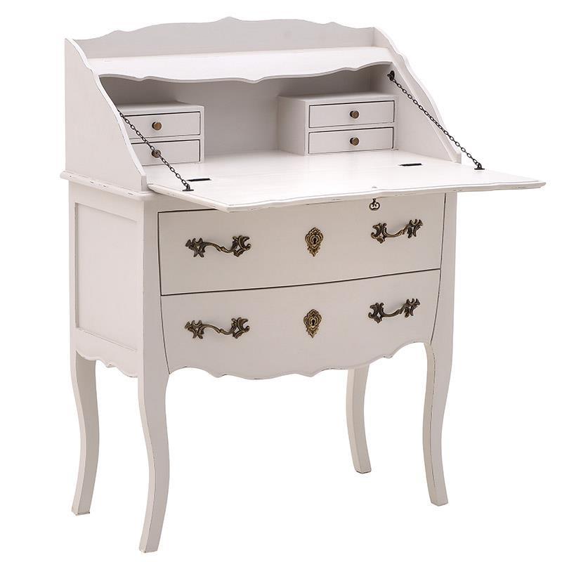 """Γραφείο σεκρετέρ """"INART"""" από ξύλο σε χρώμα λευκό 80x40x106"""