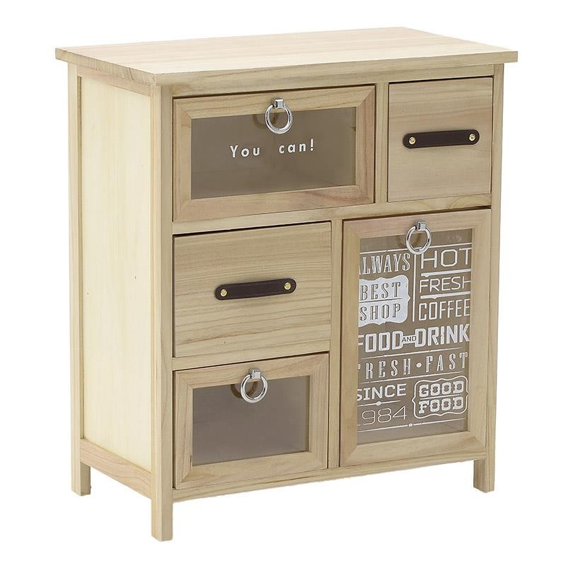 """Συρταριέρα """"INART"""" από ξύλο σε χρώμα φυσικό/μπεζ 53x30x60"""