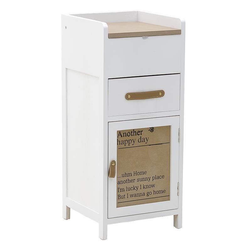 """Συρταριέρα """"INART"""" από ξύλο σε χρώμα λευκό/μπεζ 33x33x75"""