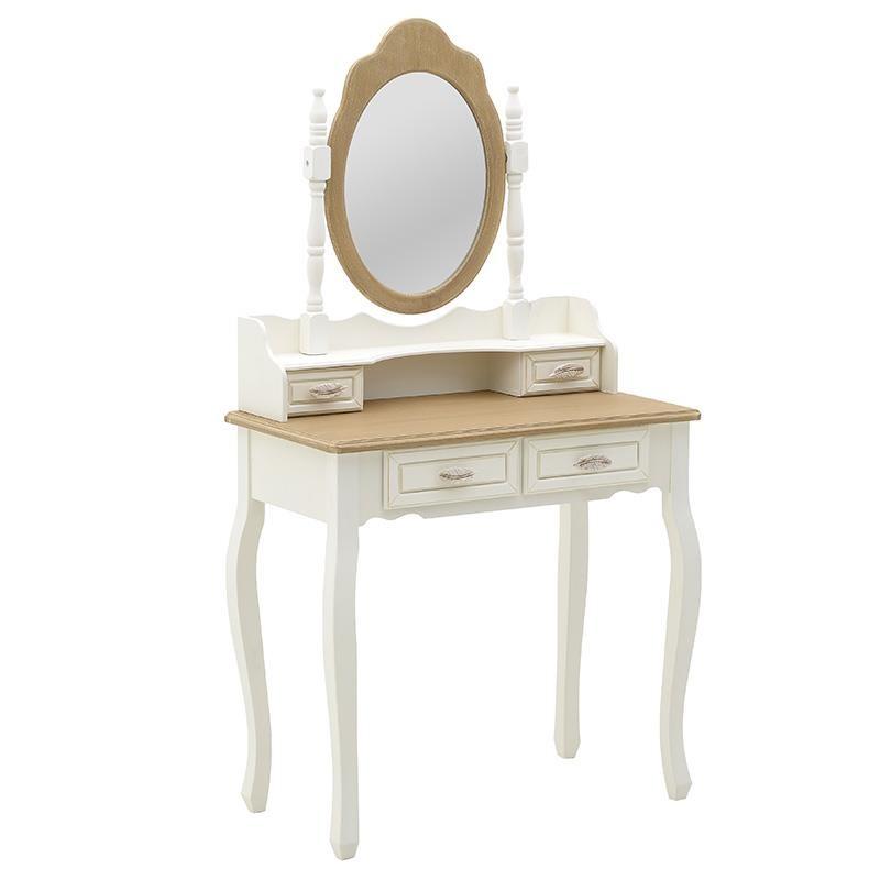 """Τουαλέτα """"INART"""" ξύλινη σε χρώμα λευκό/φυσικό 75x40x140"""