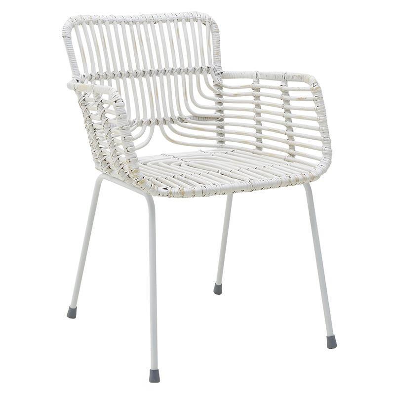 Πολυθρόνα εξωτερικού χώρου από wicker σε λευκό χρώμα 59x59x80