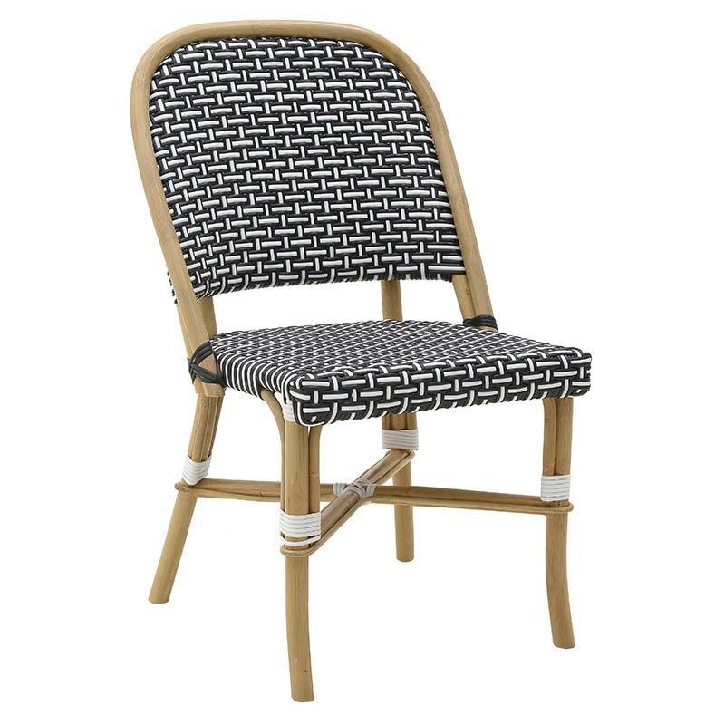 Καρέκλα εξωτερικού χώρου από wicker σε ασπρόμαυρο χρώμα 53x59x87,5