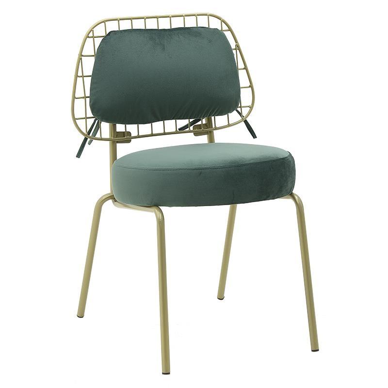 Καρέκλα τραπεζαρίας βελούδινη σε πράσινο χρώμα 45x56x79