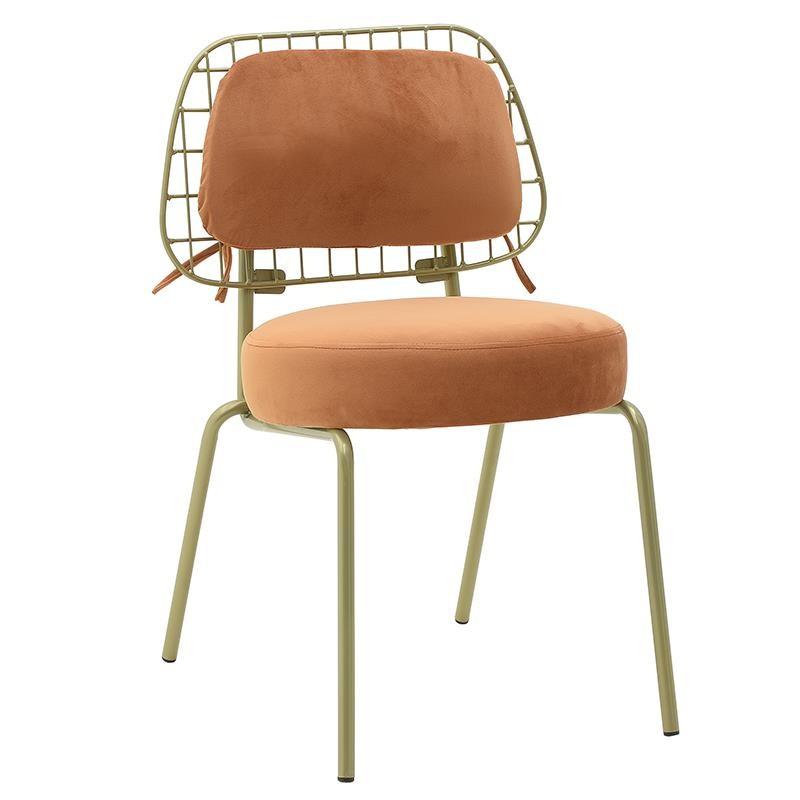 Καρέκλα τραπεζαρίας βελούδινη σε πoρτοκαλί χρώμα 45x56x79