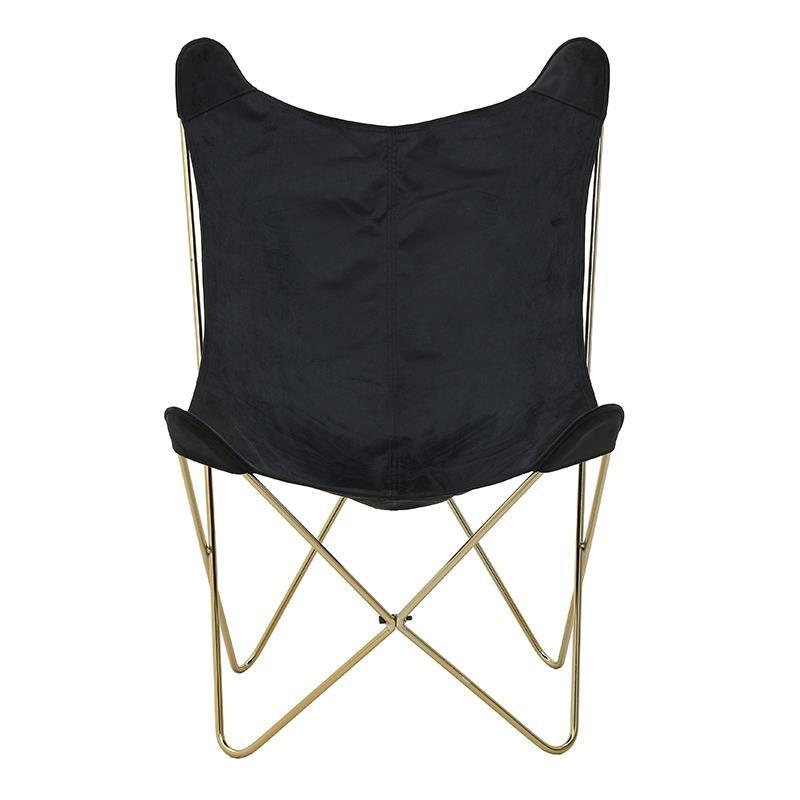 Πολυθρόνα σαλονιού πεταλούδα υφασμάτινη σε μαύρο χρώμα 66,5x62x92