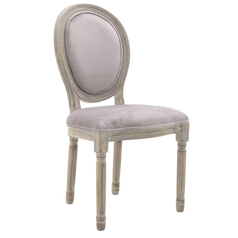 Καρέκλα ξύλινη-βελούδινη σε φυσικό-ροζ χρώμα 48x46x96