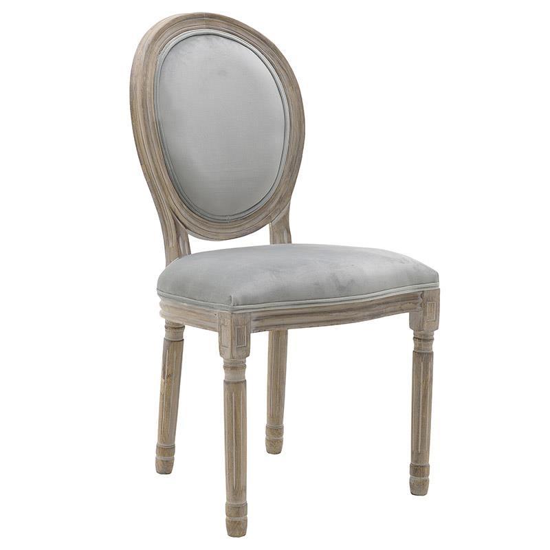 Καρέκλα ξύλινη-βελούδινη σε φυσικό-γκρι χρώμα 48x46x96