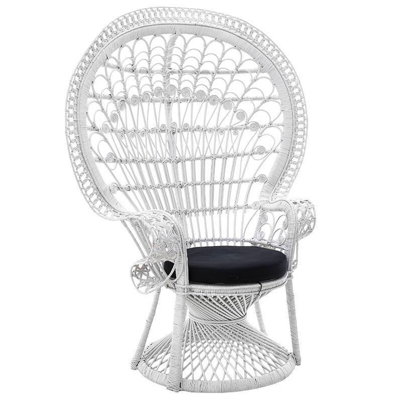 """Πολυθρόνα εξωτερικού χώρου """"PEACOCK"""" από πλέξη wicker σε λευκό χρώμα 115x72x149"""