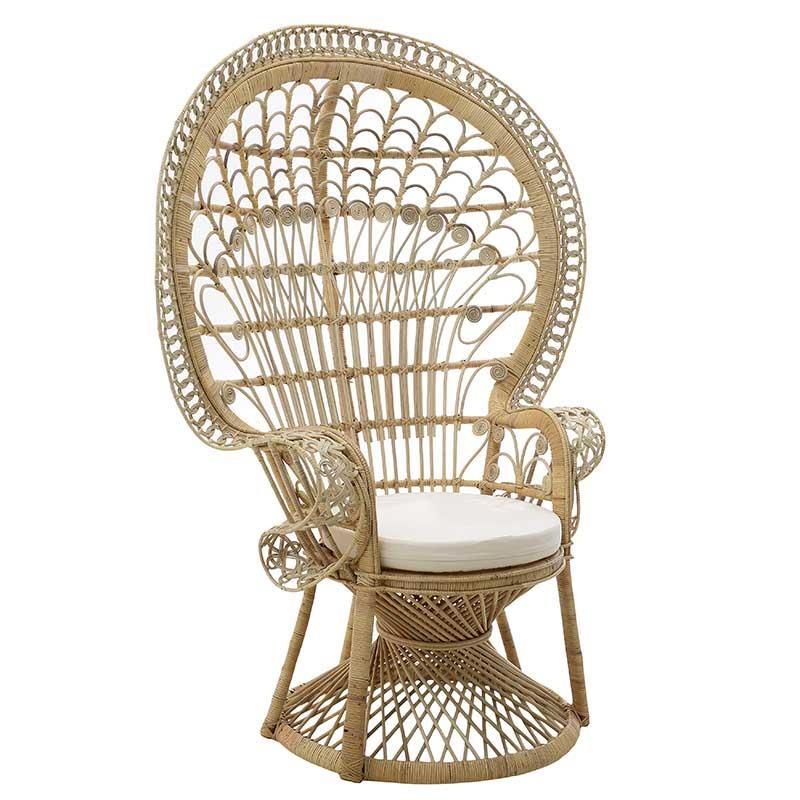 Πολυθρόνα εξωτερικού χώρου «PEACOCK» από πλέξη wicker σε φυσικό χρώμα 115x72x149