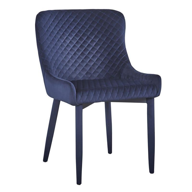 Καρέκλα τραπεζαρίας βελούδινη σε μπλε χρώμα 44x44x83
