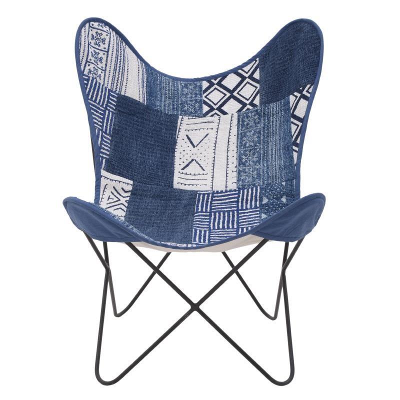 Πολυθρόνα εξωτερικού χώρου μεταλλική-υφασμάτινη σε μπλε χρώμα 65x55x85