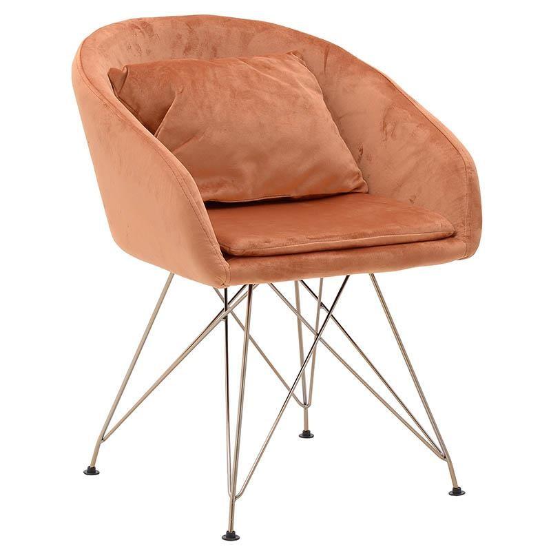 Πολυθρόνα σαλονιού βελούδινη σε πορτοκαλί χρώμα 58x56x77,5