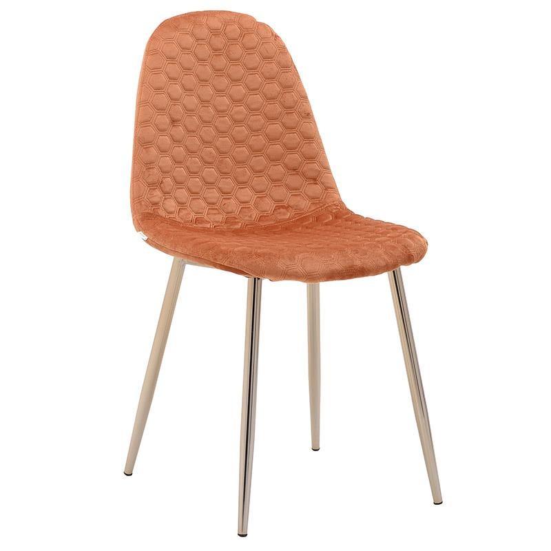 Καρέκλα τραπεζαρίας βελούδινη σε πορτοκαλί χρώμα 44x46x88