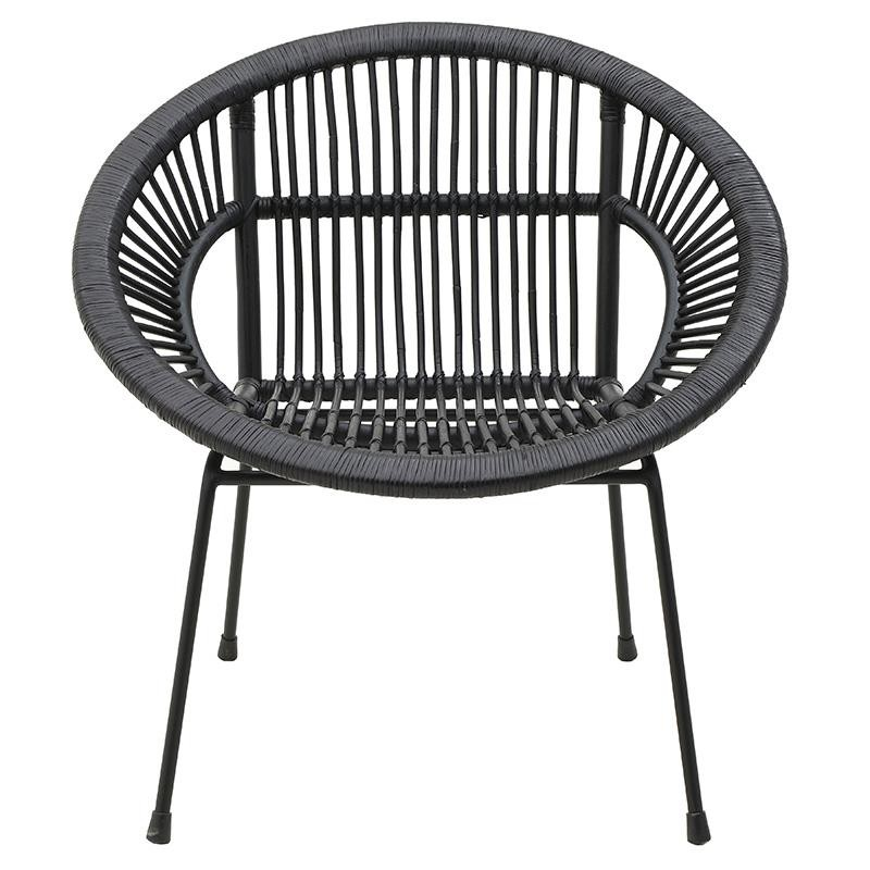 Πολυθρόνα εξωτερικού χώρου από πλέξη wicker σε μαύρο χρώμα 80x69x80