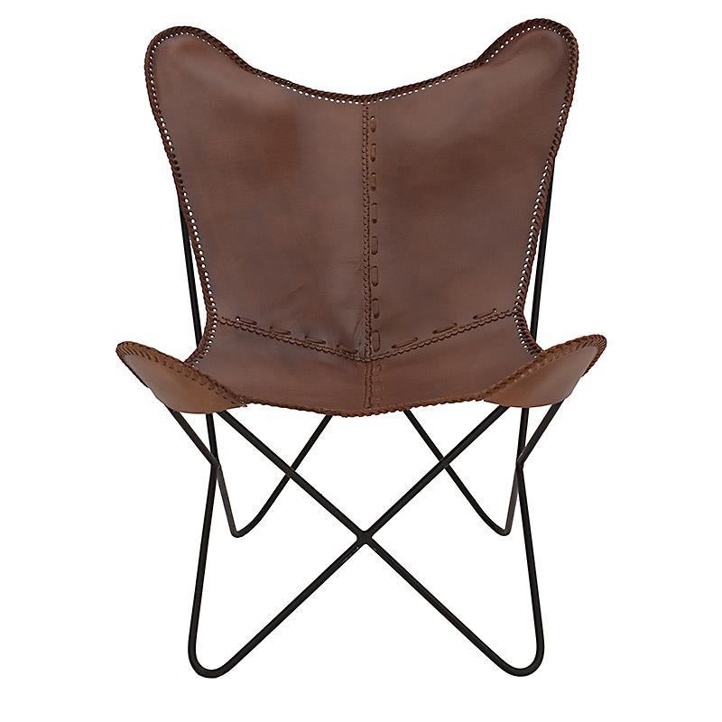 Καρέκλα πεταλούδα δερμάτινη σε καφέ χρώμα 75x87x86