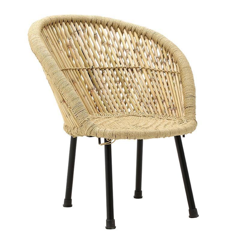 Καρέκλα μπαμπού με μεταλλικά πόδια σε φυσικό χρώμα 63x46x73