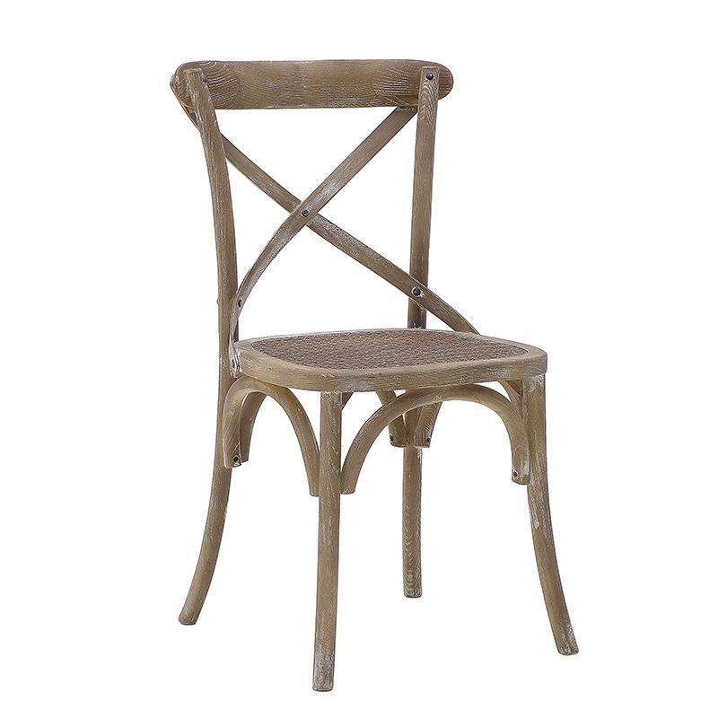 Καρέκλα τραπεζαρίας ξύλινη σε μπεζ αντικέ χρώμα 45x42x88