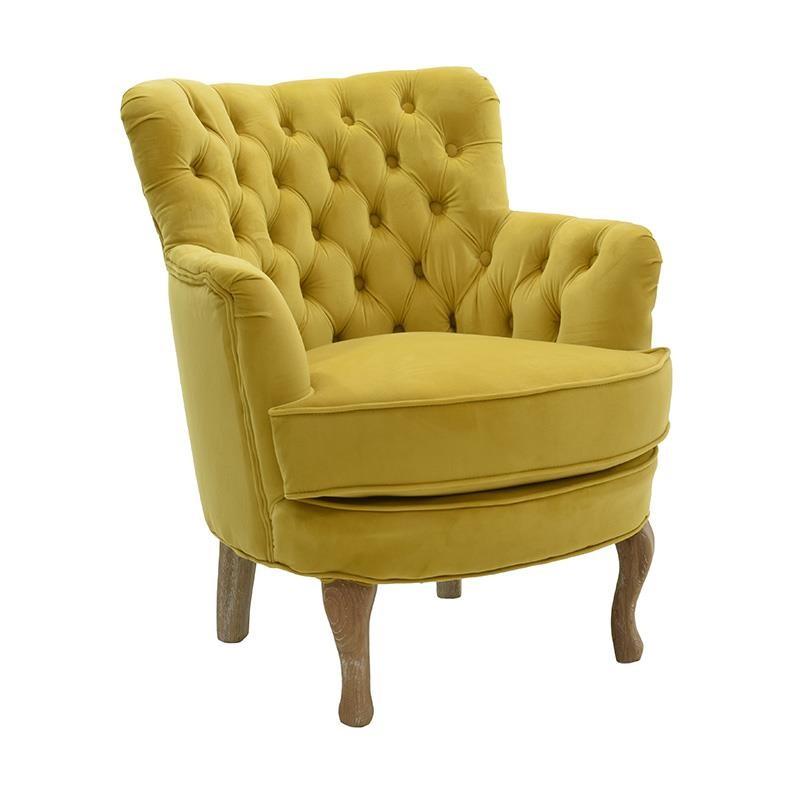 Πολυθρόνα σαλονιού βελούδινη σε μουσταρδί χρώμα 62x70x75
