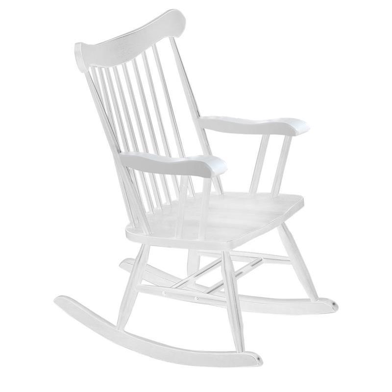 Κουνιστή πολυθρόνα ξύλινη σε λευκό χρώμα 53x76x99