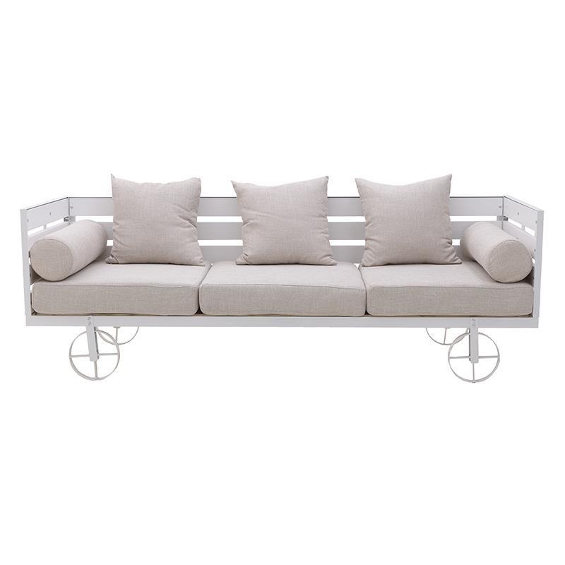 Καναπές κήπου ξύλινος-υφασμάτινος σε λευκό-μπεζ χρώμα 192x70x65