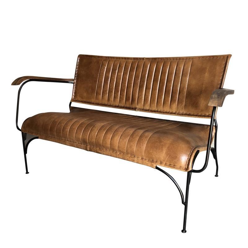 Καναπές διθέσιος μεταλλικός-δερμάτινος σε μαύρο-καφέ χρώμα 133x71x77