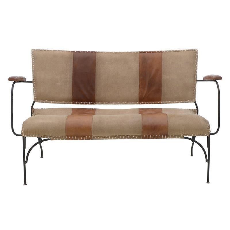 Καναπές διθέσιος μεταλλικός-δερμάτινος σε μαύρο-καφέ χρώμα 128x67x74
