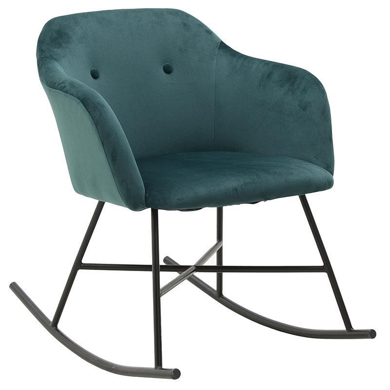 Πολυθρόνα κουνιστή βελούδινη σε πράσινο χρώμα 66x80x73