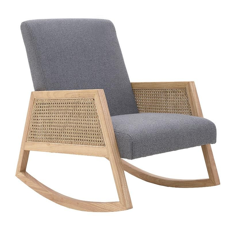 Πολυθρόνα κουνιστή ξύλινη-υφασμάτινη σε φυσικό-γκρι χρώμα 62x78x84