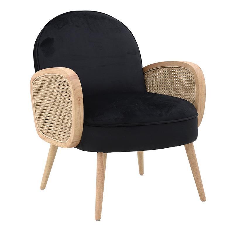 Πολυθρόνα σαλονιού ξύλινη-υφασμάτινη σε φυσικό-μαύρο χρώμα 65x76x85