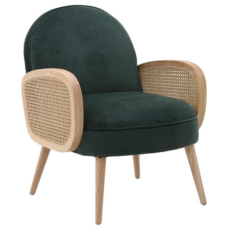 Πολυθρόνα σαλονιού ξύλινη-βελούδινη σε φυσικό-πράσινο χρώμα 65x76x85