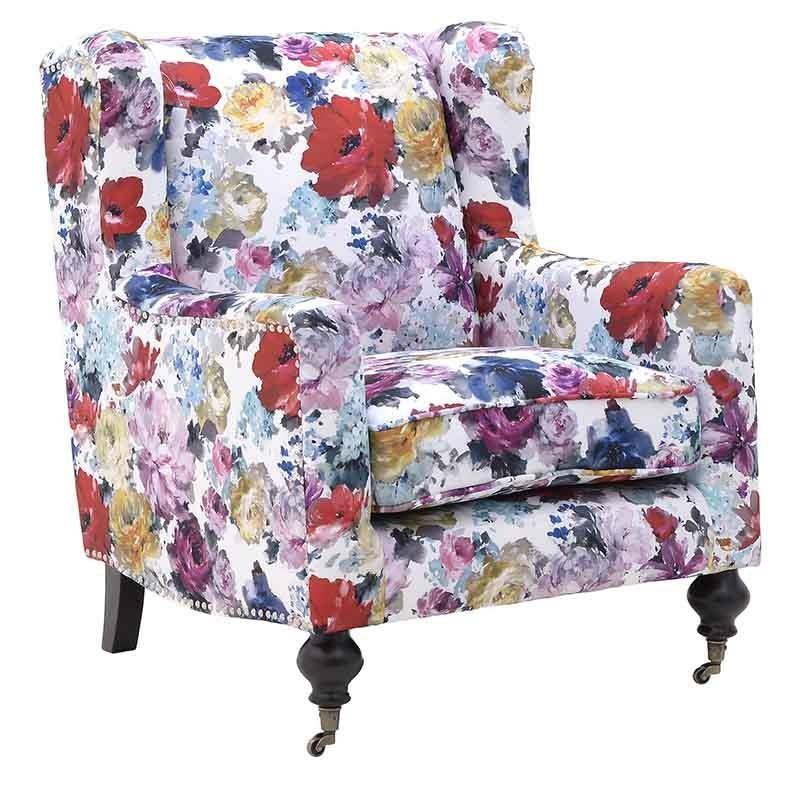 Μπερζέρα υφασμάτινη με floral σχέδια 76x86x81